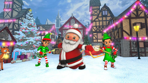 Cute Santa dancing hip hop in a Christmas village with elves playing rock Animation