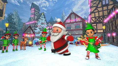 Cute Santa dancing hip hop in a Christmas village with... Stock Video Footage