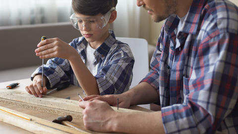 Cute attentive boy working with screwdriver and wood, father teaching son Live Action