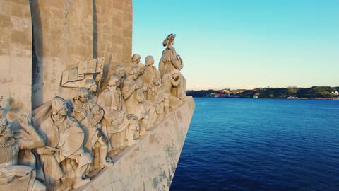 Monument To The Discoveries Lisbon Aerial stock footage