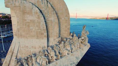 Lisbon river Monument to the Discoveries aerial Footage