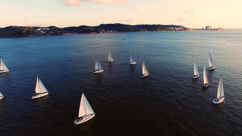 Lisbon Boats On A River Sunset Aerial Dron stock footage