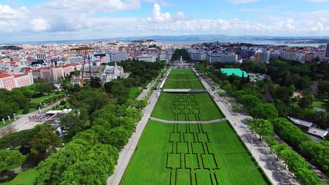 Lisbon Eduardo VII Park Aerial Shooting stock footage