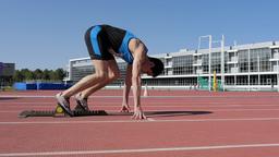 athletes runners start at stadium of 400 m Footage