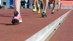 group of women athletes running in stadium Footage