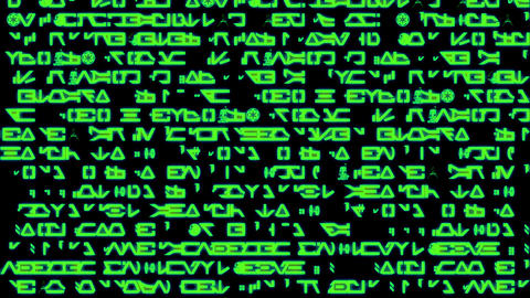 Rows of symbols and code scroll on a black screen - Text and Grids 1001 HD, 4K Animation