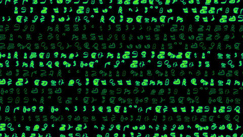 Rows of symbols and code scroll on a black screen - Text and Grids 1003 HD, 4K Animation