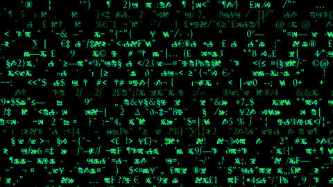 Rows of symbols and code scroll on a black screen - Text and Grids 1005 HD, 4K Animation