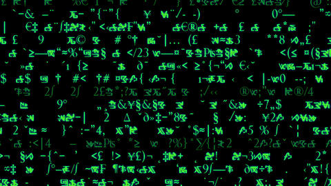 Rows of symbols and code scroll on a black screen - Text and Grids 1006 HD, 4K Animation