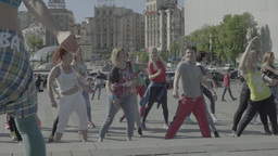 People Are Dancing On The Maidan Slow Motion 1