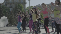 People dance positive dance on the street. Slow motion Footage