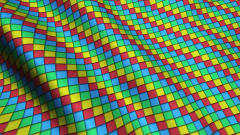 Animated 3D Cloth Colorful Squares Texture Materials