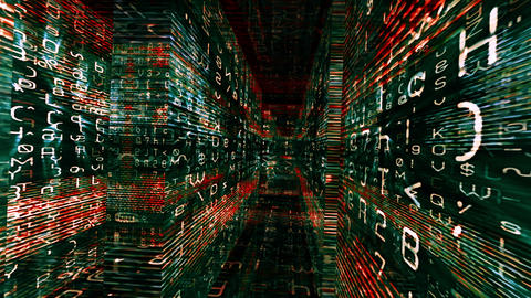 Traveling through a labyrinth of data - Data Storm 0572 HD, 4K Animation