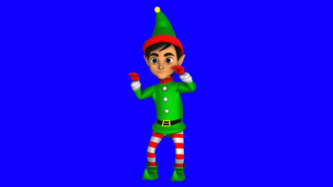 Cute elf dancing chicken dance isolated on blue screen. Seamless funny Christmas Animation