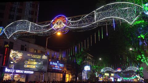 Decorative lighting at Park Street, Kolkata GIF