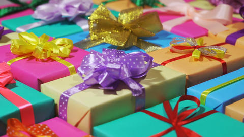 Colorful gifts boxes. A lot of holiday gifts in a beautiful package. Rotation Live Action