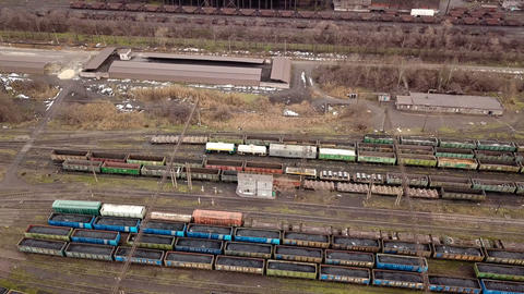 Railway yard with a lot of railway lines and freight trains. Rail freight 영상물