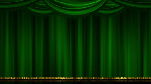 Stage Curtain Open Close green Animation