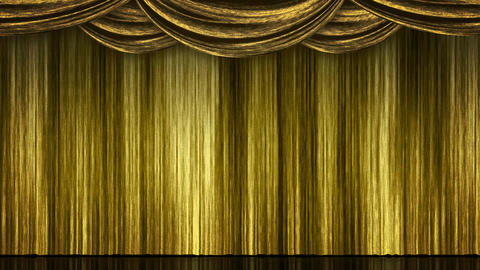 Stage Curtain Open Close gold Animation