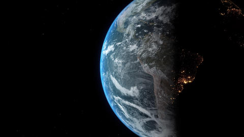 Earth View - Night to Day Camera Rotation Animation