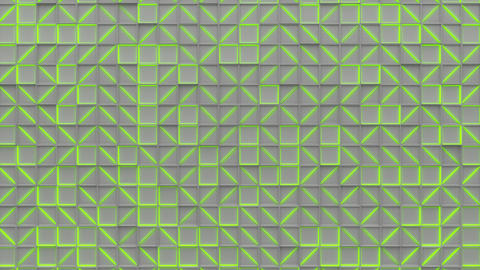0366 Wall of white rectangle tiles with green glowing elements Animation