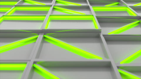 0368 Wall of white rectangle tiles with green glowing elements Animation