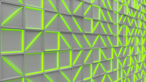0369 Wall of white rectangle tiles with green glowing elements Animation