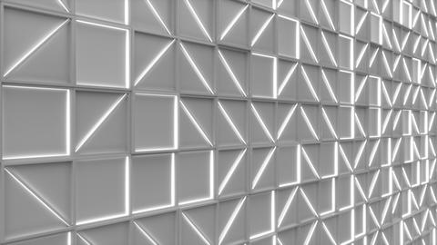 0375 Wall of white rectangle tiles with white glowing elements Animation