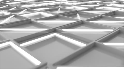 0377 Wall of white rectangle tiles with white glowing elements Animation