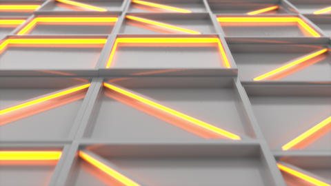 0380 Wall of white rectangle tiles with orange glowing elements Animation