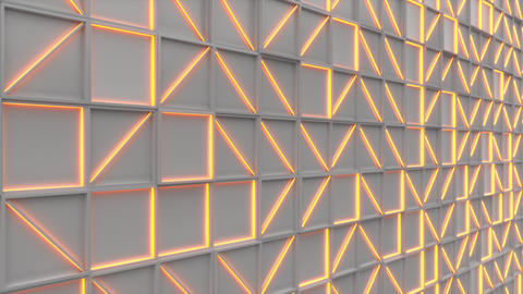 0381 Wall of white rectangle tiles with orange glowing elements Animation