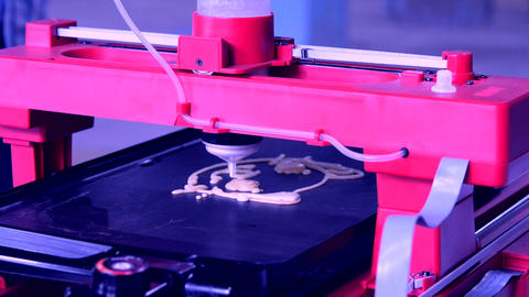 3D printer printing pancakes with liquid dough different shapes close-up 영상물