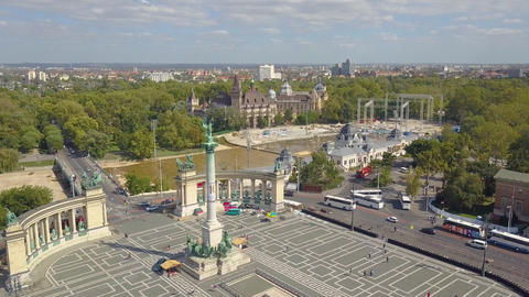 Aerial video shows the Heroes Square in downtown Budapest, Hungary - 4K drone Live Action