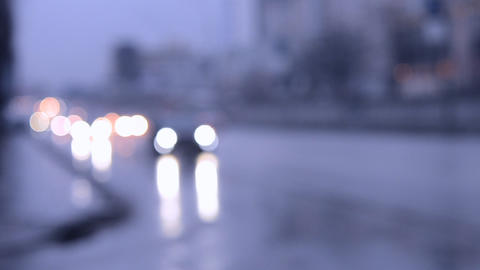 Blurred Abstract Background traffic cars on the street at dusk 영상물