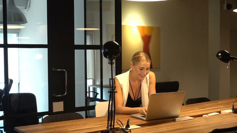 Business Blonde Girl Writing a business plan in front of... Stock Video Footage