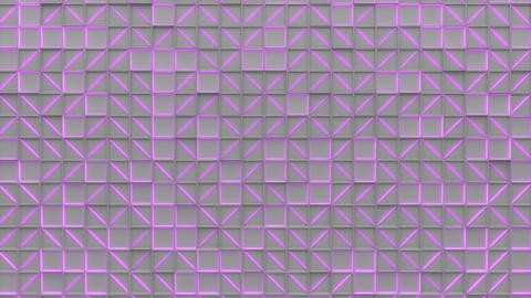 0384 Wall of white rectangle tiles with purple glowing elements Animation