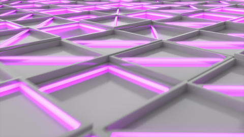 0389 Wall of white rectangle tiles with purple glowing elements Animation