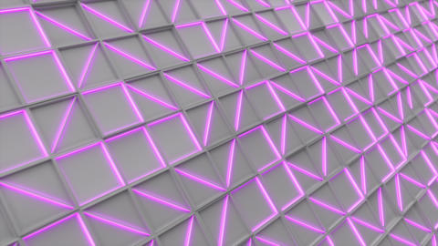 0388 Wall of white rectangle tiles with purple glowing elements Animation