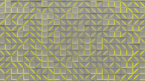 0396 Wall of white rectangle tiles with yellow glowing elements Animation