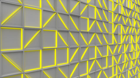 0399 Wall of white rectangle tiles with yellow glowing elements Animation