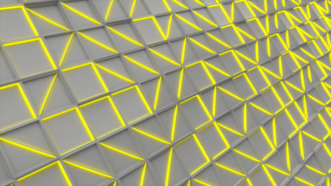 0400 Wall of white rectangle tiles with yellow glowing elements Animation