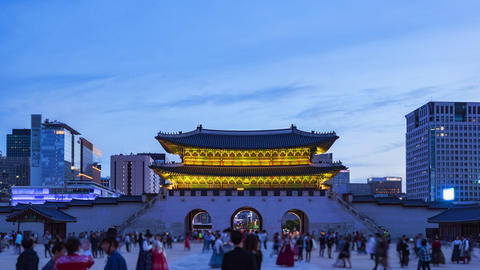 Timelapse of Gyeongbokgung Palace in Seoul City, South Korea Live Action