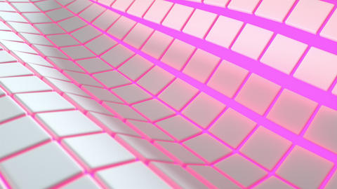 0559 Wavy surface made of white cubes with glowing... Stock Video Footage