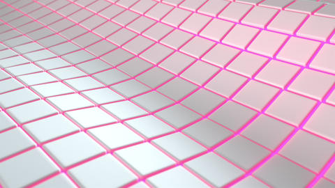 0559 Wavy surface made of white cubes with glowing background Animation