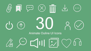 30 Outlined Animated UI Icons Pack Motion Graphics Template