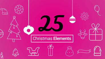 Christmas Outlined Elements Pack Motion Graphics Template