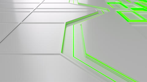 0578 White looped futuristic background with green glowing lines and elements Animation