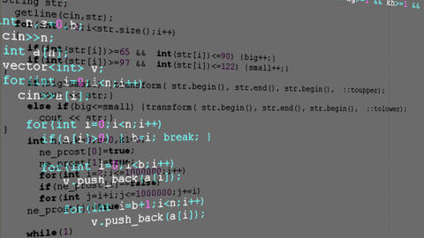 Source code on the monitor screen. Source code Animation