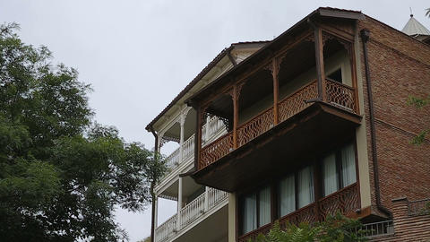 Traditional wood design balcony houses, beautiful exterior, old style residence Live Action