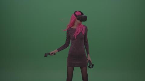Pink Hair Young Rock Girl Shooting Enemies In Virtual Reality Footage